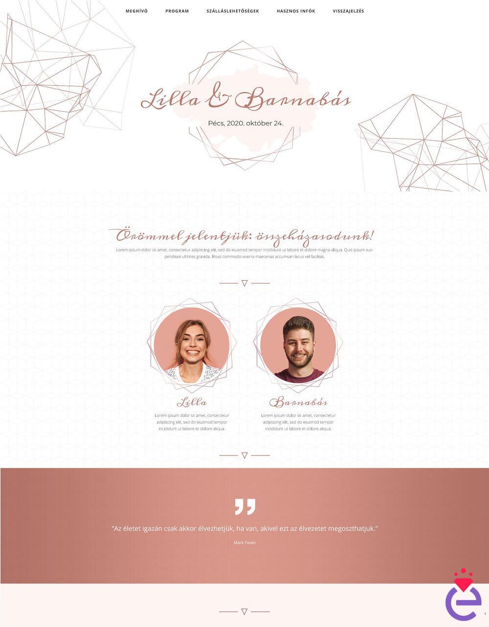 esküvői weboldal design sablon