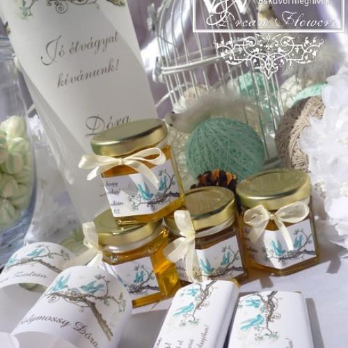 Esküvői mini méz és mini lekvár köszönetajándkok www.dreamflowersmeghivok.hu