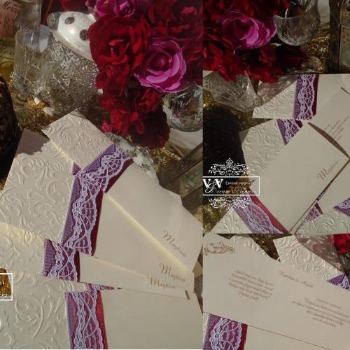 Csipkés esküvői meghívók sokféle színben és stílusban: www.dreamflowersmeghivok.hu