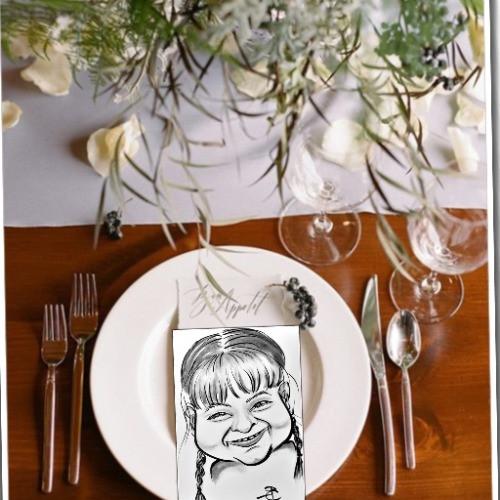Esküvői karikatúrás ültetőkártya