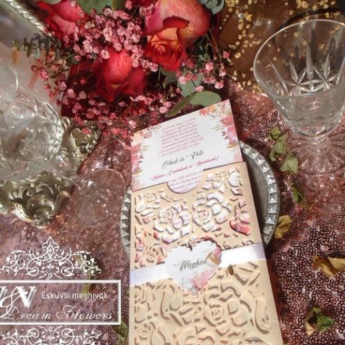 Lézervágott esküvői meghívók sokféle színben és stílusban www.dreamflowersmeghivok.hu
